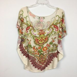 Flying Tomato Boho Floral Paisley Top. S